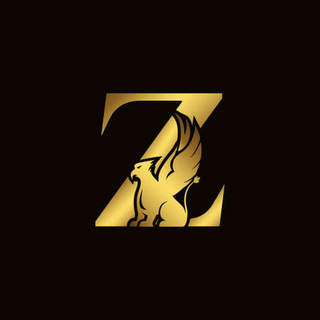 Griffin silhouette inside gold letter Z. Heraldic symbol beast ancient mythology or fantasy. Creative design elements for logotype, emblem, monogram, icon or symbol for company, corporate, brand name 矢量图像