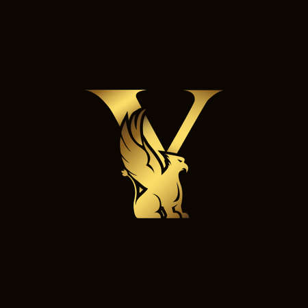 Griffin silhouette inside gold letter Y. Heraldic symbol beast ancient mythology or fantasy. Creative design elements for logotype, emblem, monogram, icon or symbol for company, corporate, brand name