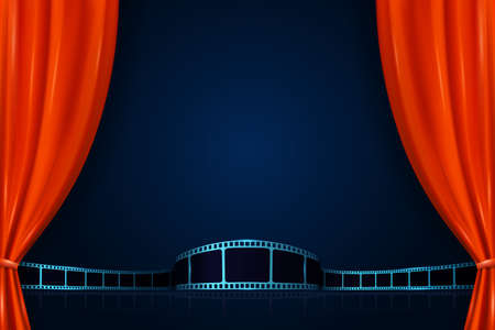 Realistic red curtains with film strip. Cinema movie background. Open curtains as template movie presentation, advertising or film award announcement. 3D style. Premiere festival or event design