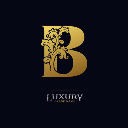 Golden initial letter B with floral leaves. Luxury Natural Logo Icon. Elegant botanic design. Modern alphabet with branch ornament for monogram, emblem, initial, label, brand, business, greeting cards