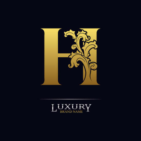 Golden initial letter H with floral leaves. Luxury Natural Logo Icon. Elegant botanic design. Modern alphabet with branch ornament for monogram, emblem, initial, label, brand, business, greeting cards