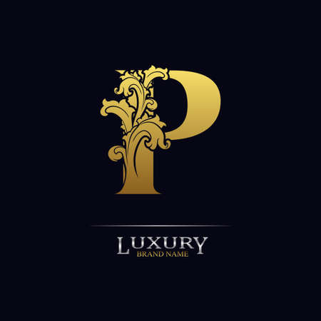 Golden initial letter P with floral leaves. Luxury Natural Logo Icon. Elegant botanic design. Modern alphabet with branch ornament for monogram, emblem, initial, label, brand, business, greeting cards