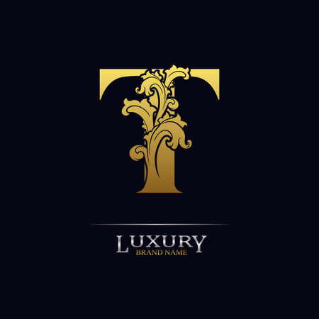 Golden initial letter T with floral leaves. Luxury Natural Logo Icon. Elegant botanic design. Modern alphabet with branch ornament for monogram, emblem, initial, label, brand, business, greeting cards