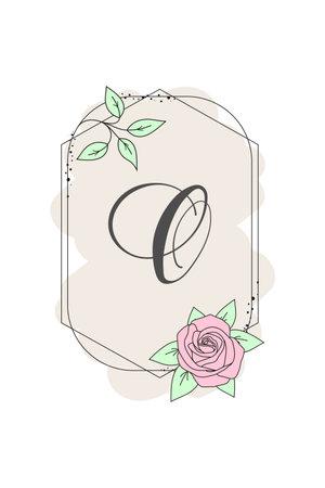Elegant initial letter O with rose flower. Graphic Floral Alphabet. Botanical Monogram Font Logo or Icon. Typography element design for emblem, label, greeting or wedding cards, decoration ideas