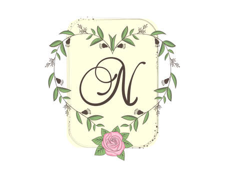 Elegant capital letter N with floral frame, leaves and rose. Calligraphic floral alphabet. Hand drawn composition of flowers. Botanical template design elements for invitation, greeting, wedding cards
