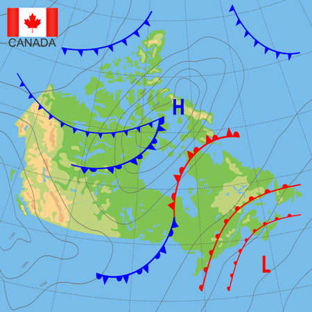 Canada. Weather map of the country. Meteorological forecast. Detailed physical map of Canada colored according to elevation, with rivers, lakes, mountains. Vector map with national flag.