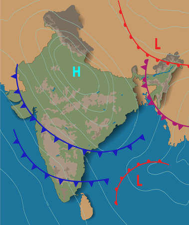 Weather map of the India. Chart synoptic showing isobars and weather fronts. Meteorological forecast. Topography and physical map of India. Vector illustration.