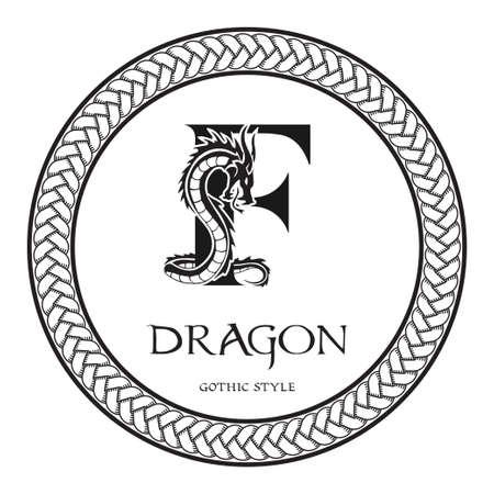 Dragon silhouette inside capital letter F. Elegant Gothic Dragon Logo with tattoo element. Heraldic symbol beast ancient mythology for logotype, emblem, monogram, icon, business card, brand name