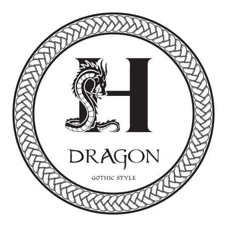 Dragon silhouette inside capital letter H. Elegant Gothic Dragon Logo with tattoo element. Heraldic symbol beast ancient mythology for logotype, emblem, monogram, icon, business card, brand name