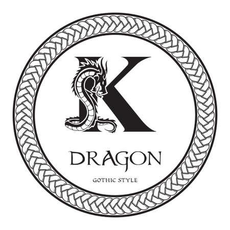 Dragon silhouette inside capital letter K. Elegant Gothic Dragon Logo with tattoo element. Heraldic symbol beast ancient mythology for logotype, emblem, monogram, icon, business card, brand name