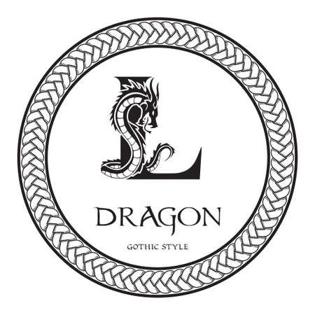 Dragon silhouette inside capital letter L. Elegant Gothic Dragon Logo with tattoo element. Heraldic symbol beast ancient mythology for logotype, emblem, monogram, icon, business card, brand name