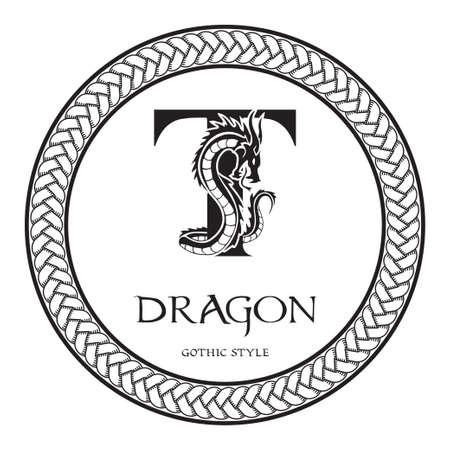 Dragon silhouette inside capital letter T. Elegant Gothic Dragon Logo with tattoo element. Heraldic symbol beast ancient mythology for logotype, emblem, monogram, icon, business card, brand name