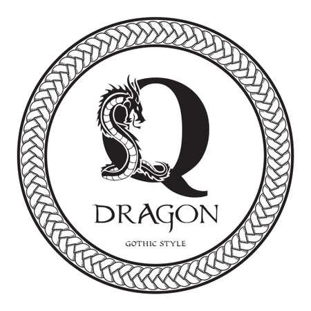 Dragon silhouette inside capital letter Q. Elegant Gothic Dragon Logo with tattoo element. Heraldic symbol beast ancient mythology for logotype, emblem, monogram, icon, business card, brand name
