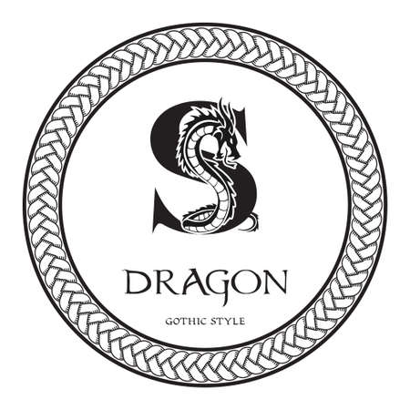 Dragon silhouette inside capital letter S. Elegant Gothic Dragon Logo with tattoo element. Heraldic symbol beast ancient mythology for logotype, emblem, monogram, icon, business card, brand name