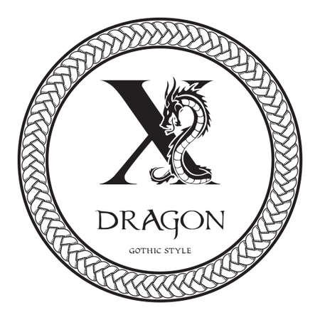 Dragon silhouette inside capital letter X. Elegant Gothic Dragon Logo with tattoo element. Heraldic symbol beast ancient mythology for logotype, emblem, monogram, icon, business card, brand name