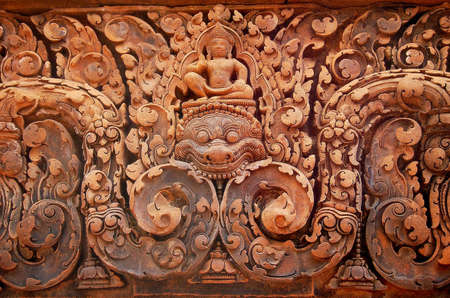 bas relief: Sand stone bas relief at Banteay Srei, a Khmer temple
