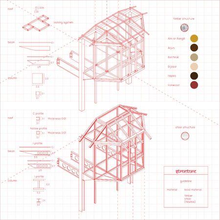 Wood Structure Diagram Banque d'images - 138233203