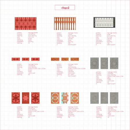 Patterned Wall Catalogue Diagram Banque d'images - 138233205