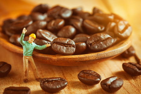miniature: selective focus of miniature worker pointed at coffee bean on wooden spoon,love coffee concept.