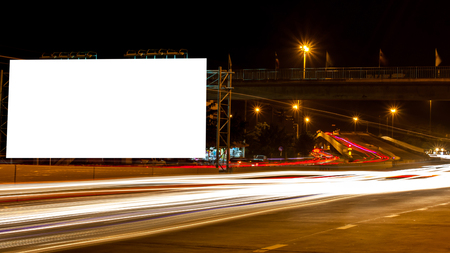 billboard blank for outdoor advertising poster or blank billboard night time for advertisement. or billboard blank street or billboard blank city night light . Imagens