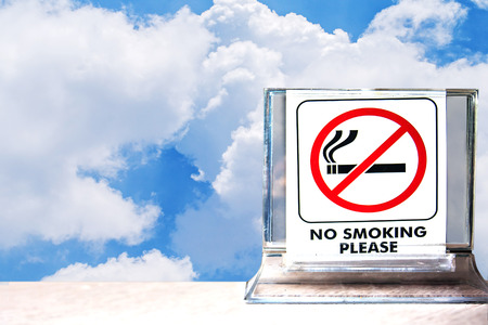 close up of no smoking sign ,abstract background for no smoking concept. Imagens