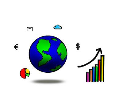 globe tekenen met zakelijke pictogram geïsoleerd op wit. abstracte achtergrond oplossing of aplication voor bussibess succes begrip Stockfoto