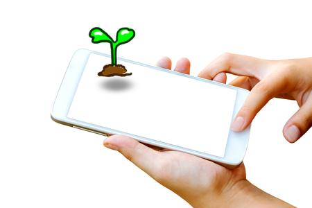 vrouw hand houden en touch screen van de smartphone, tablet, mobiele telefoon met een zaailing groeien op het scherm geïsoleerd op wit. achtergrond naar de aarde dag begrip