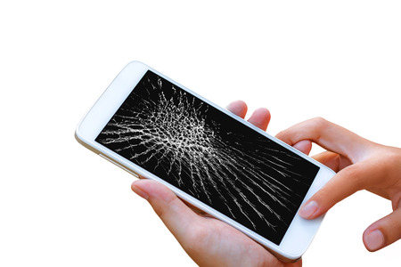woman hand hold and touch screen smart phone,tablet,cellphone isolated on white , with crack or broken screen. Imagens
