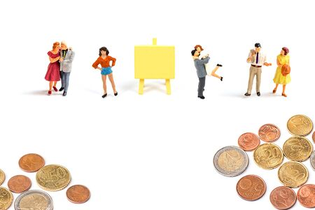 miniature people with euro coins on white background, image for money and saving concept.