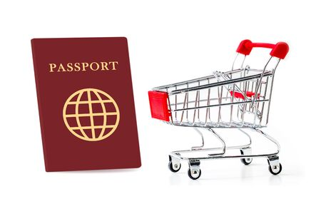 shopping cart with passport isolated on white background.