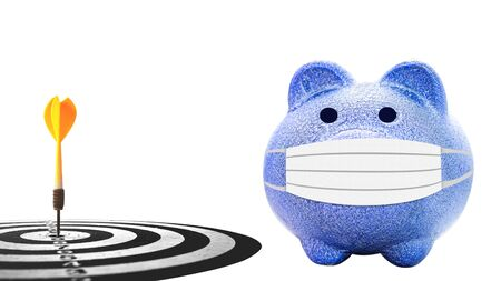 blue piggy bank  with dart target arrow isolates on white background
