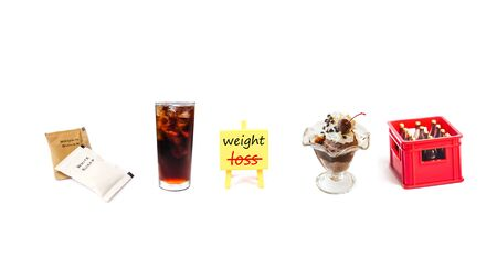 inspiration board  with drink water and brown - white sugar pack isolated on white back ground to solution for health and weight loss. Reklamní fotografie