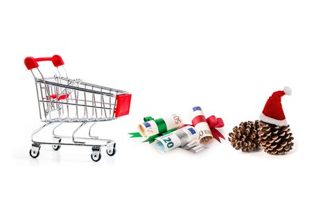 shopping cart and euro banknote with pine cone isolated on white background, Image for Christmas Holiday and Happy New Year Gift Celebration concept. Reklamní fotografie - 150441082