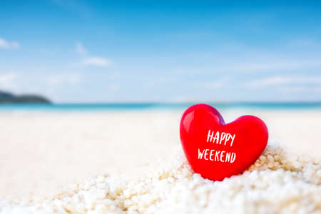 red Heart shape on white sand beach ,Image for love valentine day or summer vacation concept Stock Photo