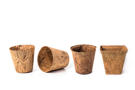 recycle tree pot or flower pot made from coconut fiber on white background.