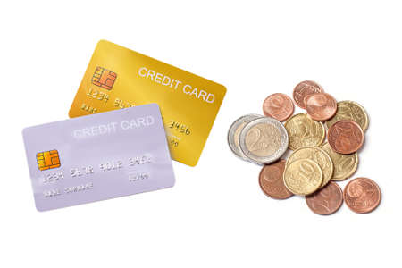 demo credit card  with euro money on white background.