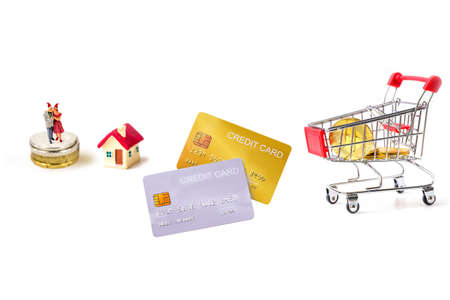 mock-up demo credit card  with shopping cart on white background. Фото со стока