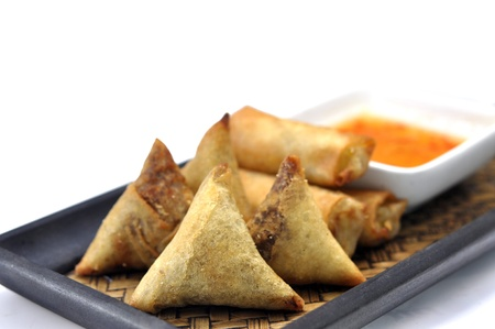 Samosa and Spring roll   photo
