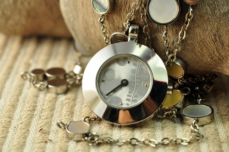 sand timer:  pocket watch and hour glass or sand timer