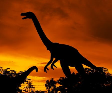 tyrannosaur: the silhouettes of dinosaurs Stock Photo