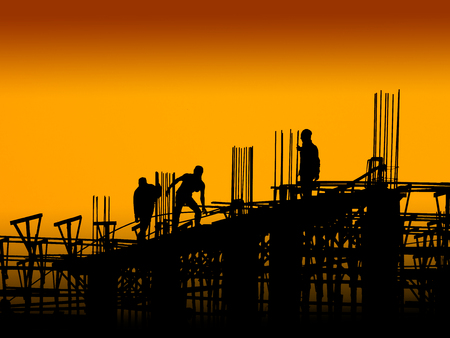 Construction worker working on a construction site photo