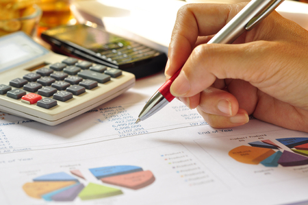 Financial statements and line chart. Stock Photo