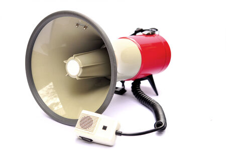 Red megaphone with red button isolated on white background