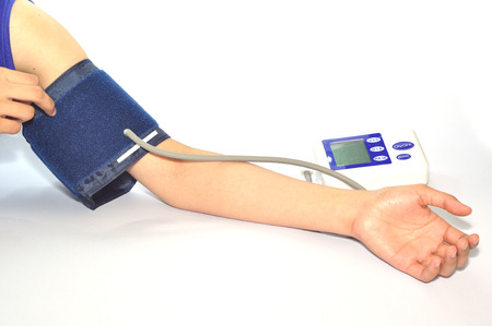 blood pressure monitor: Blood pressure monitor isolated on white