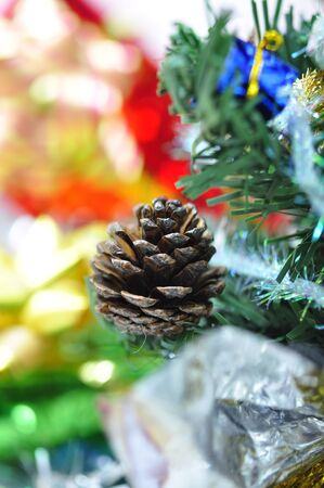 Bright christmas composition with christmas tree and gifts