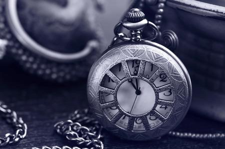 still life Antique pocket clock