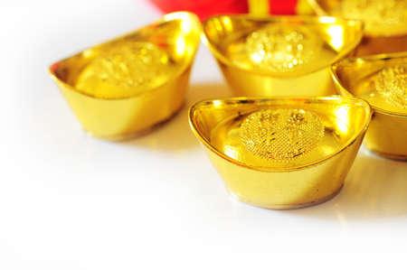 ingots: Chinese new year and gold ingots Stock Photo