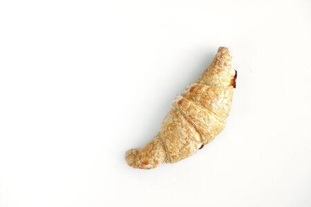 Breakfast croissant on white background Stock Photo
