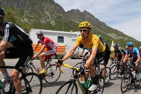 madeleine: Bradley Wiggins climbing the Col de la Madeleine around Albertville France in 2012