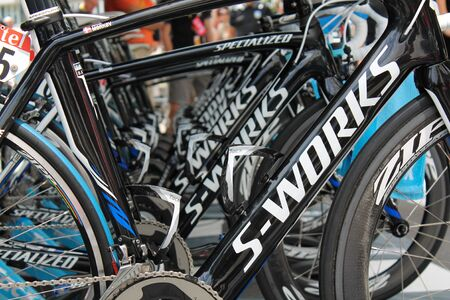 specialized: Liege, Belgium - June 30, 2012 - A row of Specialized TT bikes of Saxobank Team at the Tour de France 2012